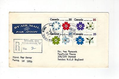 Canada Eii 1970 Registered First Day Cover Block Of 4 World Fair Fdi 18 Iii 1970