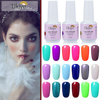 Ukiyo 15ml Soak Off UV LED Black White Color Gel Polish No Wipe Top Base Coat