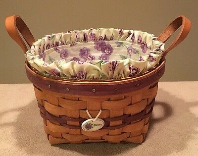 Longaberger 1992 May Series 'Pansy' Basket Combo; Liner Protector & Tie-on