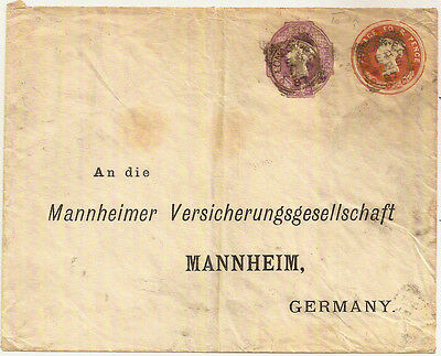 GB 1887 QV 4d+6d COMPOUND DATED STO STATIONERY ENV USED- GERMANY 7-12-86