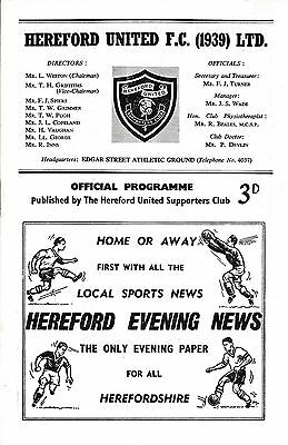 Hereford v Rugby Town (Southern League Cup) 1961/2