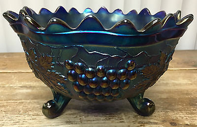 3 Ft Fruit Bowl Carnival Glass Northwood Grape Cable Banded Stipled Blue Antique