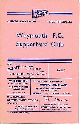 Weymouth v Hereford United (Southern League Cup) 1961/2
