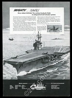 1956 USS Saratoga aircraft carrier pic Cleanese chemicals vintage print ad