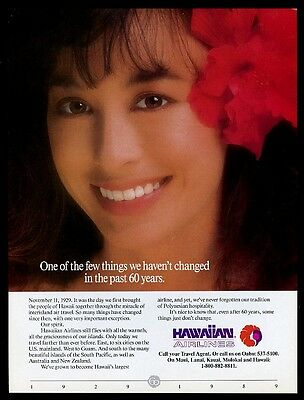 1989 Hawaiian Airlines stewardess color photo vintage print ad