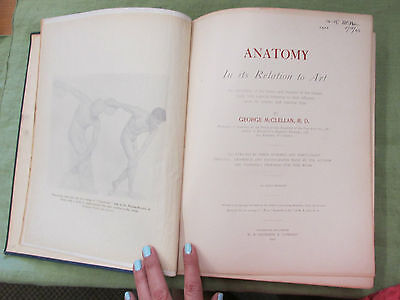 VERY RARE antique 1901 Anatomy in its Relation to Art book McClellan 1st edition