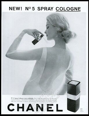 1961 Chanel No.5 spray cologne blonde woman photo vintage print ad