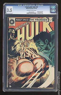 Incredible Hulk French/Canadian Edition 40 CGC  3.5