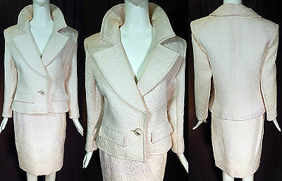 Vintage YSL Saint Laurent Rive Gauche White Matelasse Quilted Suit Jacket Skirt