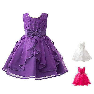 Flower Girls Bow Wedding Dress Party Tutu Prom Ball Formal Pageant Gown for Kids