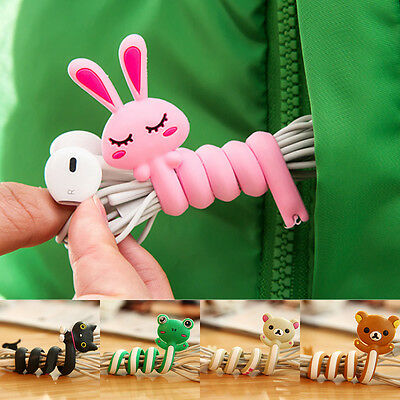 Hot 2X Cartoon Cable Winder Long Earphone Organizer Wire Cord Animal Wrap Holder