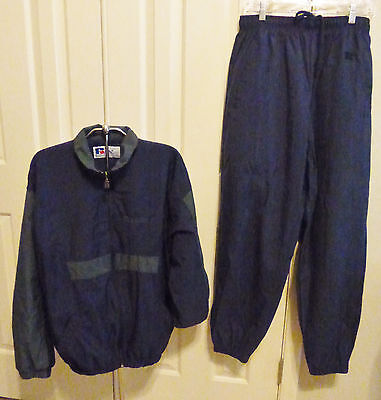RUSSELL ATHLETIC 2 Pc TRACK, RUNNING OR WIND SUIT, UNISEX SIZE M BLUE EXCELLENT