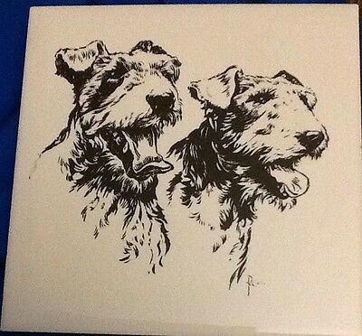 Vintage '50 Kemptone Ohio Etched Tile Plaque Pair Of Airedales Airedale Dogs Dog