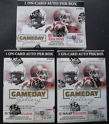 3x NFL Press Pass Gameday 2014 Trading Card Box Sealed/ orig. pack. 1 Car