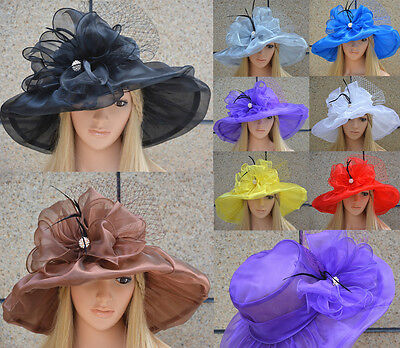 Womens Kentucky Derby Wide Brim Sun Dress Church Wedding Hat A342