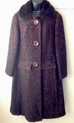 MISS SMITH ORIGINAL VINTAGE LADIES COAT With REAL FUR COLLAR Size 16