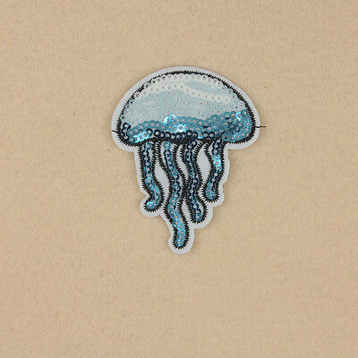Sequin Embroidered Iron on Sew Patch Badge Jellyfish Shape Bag Clothes Applique