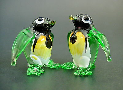 2 Tiny Glass PENGUINS Green Painted Glass Animals Miniature Glass Ornaments Gift