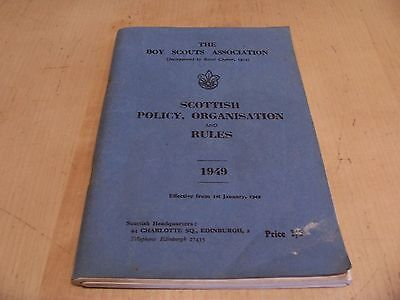 Rare 1949 BOYS SCOUTS Booklet SCOTTISH POLICY ORGANISATION & RULES