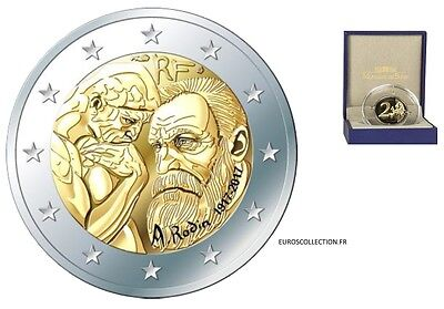France 2 € Euro Proof 2017 Sculptor Rodin Certificate+Box+Sleeve @ Low Mintage !