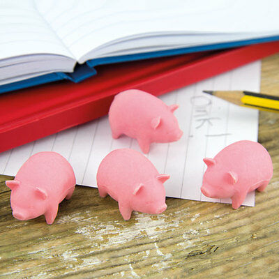 Bacon Scented Pig Shaped Erasers Rubbers Novelty Stationary Pack Of 4 (Pp2702)