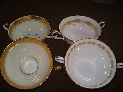 """Four Lovely Bone China  Two Handled Soup Bowls By """"aynsley"""" White With Gold Trim"""