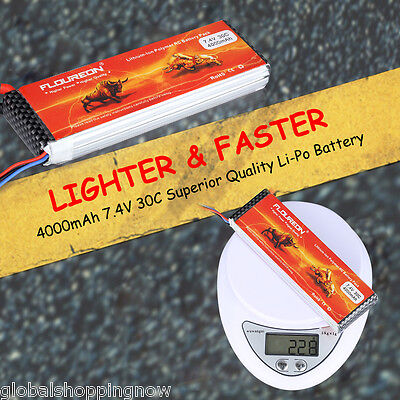 Deans 4000mAh 2S1P 7.4V 30C LiPo Battery for RC Evader BX Car RC Airplane Hobby