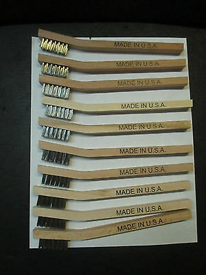 10-Mini Wire Stainless Wooden Handle Brush Industrial Heavy Duty Usa Made New