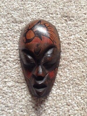 Hand Carved Small Wooden Mask Ornament