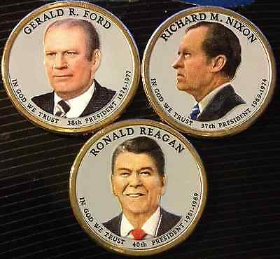 Colorized 2016 Presidential Dollar Set - Color Front Only (3 Coin Set)