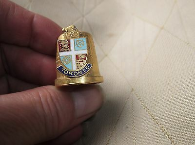 Collectable Gold Tone Thimble With Raised Enamelled Crest For Toronto