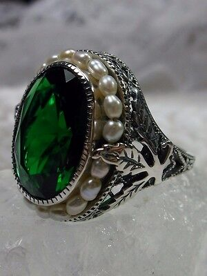*Emerald* & Seed Pearl Solid Sterling Silver Leaf Victorian Filigree Ring Size 6