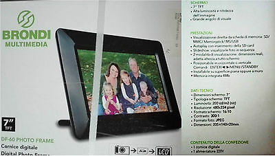 "Cornice Digitale 7"" Tft Brondi Photo Frame Df-60 Legge Memorie Usb + Sd/mmc/ms"