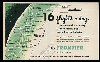 1957 Frontier Airlines system map on globe plane art vintage print ad