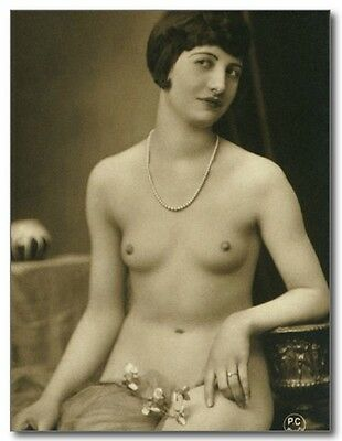 French Nude Brunette Short Hair Flapper Erotic Sexy Risque REPRO Vintage