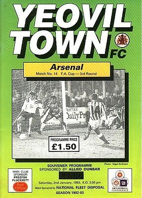 YEOVIL v Arsenal (FA Cup) 1992/3 - Arsenal Cup Winners!
