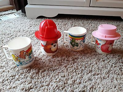 Vintage1983 Plastic Care Bears Drinking Cup Mug Lot with Hats