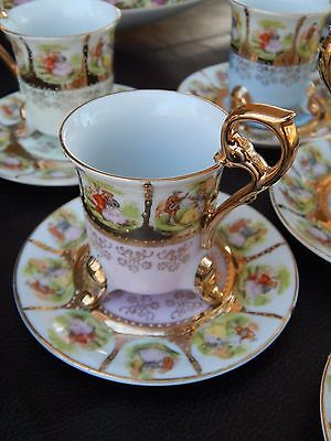 Vintage Demitasse Royal Vienna Style Gold Tea Cup Courting Couple 18 Set MINT