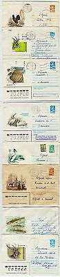 8 Soviet Pictorial Stationaries With Birds And Animals, Sent In Estonia