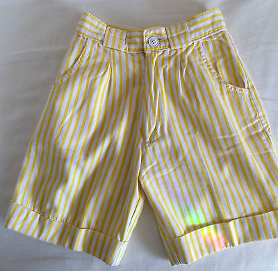 Yellow and White striped cotton shorts Height 48 inches 122cm 7/8yrs