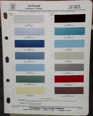 1962 Buick And Special Ditzler Color Paint Chips Original