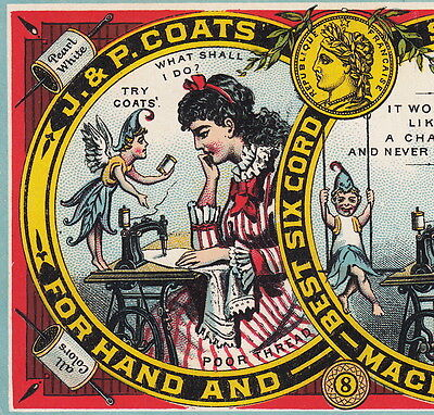 Fairy Antique 1880's J & P Coats Sewing Thread Before & After Advertising Card