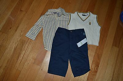 Boy's IZOD 3 piece outfit~Long sleeve shirt~Sweater vest & pants 3/6 Months NWT