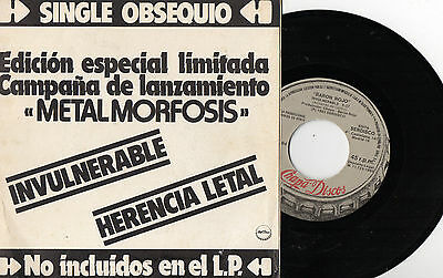 """BARON RED - Invulnerable / Lethal Legacy, SG 7"""" SPAIN 1983 PROMO EX+"""