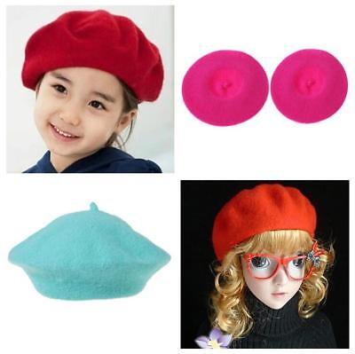 Girls Kids Warm Solid Color Wool Children Beret Artist Beanie Hat Ski Cap W
