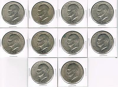 Eisenhower Dollar Coins - Collection Of 10 Very Nice Circulated Coins - Lot #21