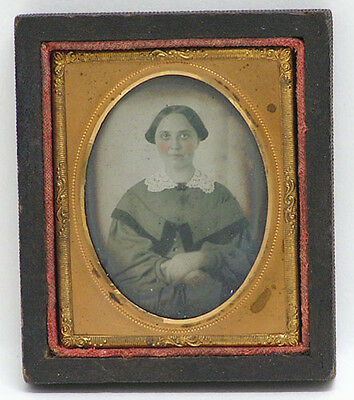 Vintage Ambrotype Woman c1857 Tinted, Gold Oval Mat 1/9 Plate in 1/2 Case