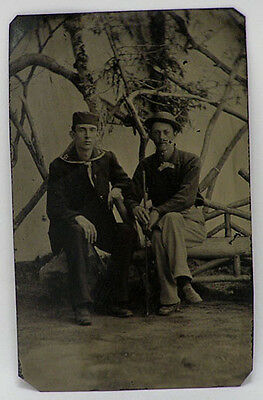 Vintage Tintype Photo Victorian c1870's Sailor and man with hat holding stick