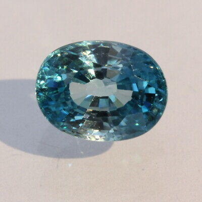 Windex Blue Zircon Faceted Oval Cambodian Sparkling Natural Gemstone 4.42 carat