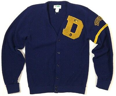 Vintage Letterman Sweater men's large blue & gold